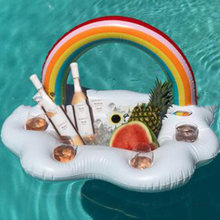 Inflatable Clouds Rainbow Drink Holder Pool Floats Inflables Cup Holder Swim Ring Pool Toys Mini Boia Piscina Inflatable Holder(China)