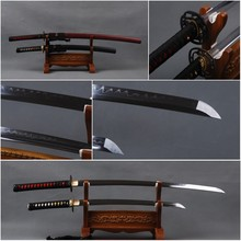 Handmade Decoration 1095 Carbon Steel Clay Tempered Blade Japanese Samurai Swords Set  Full Tang Sharp  Katana & Wakizashi