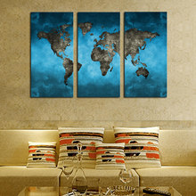 Framed 3 Piece Abstract Blue Map Landscape Canvas Print Painting Modern Canvas Wall Art Christmas Gift For Home Decoration(China)
