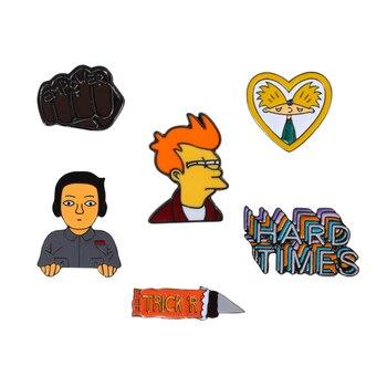Broches creativos esmaltados para cómic de hombre, broches de puño, Pin de solapa para mochila, insignia para ropa, accesorios de regalo de joyería divertidos de dibujos animados para niños