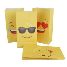 OurWarm 12pcs Emoji Paper Bags Birthday Party Favors DIY Decorations Yellow for Gifts Candy Bag 22*12*8*cm