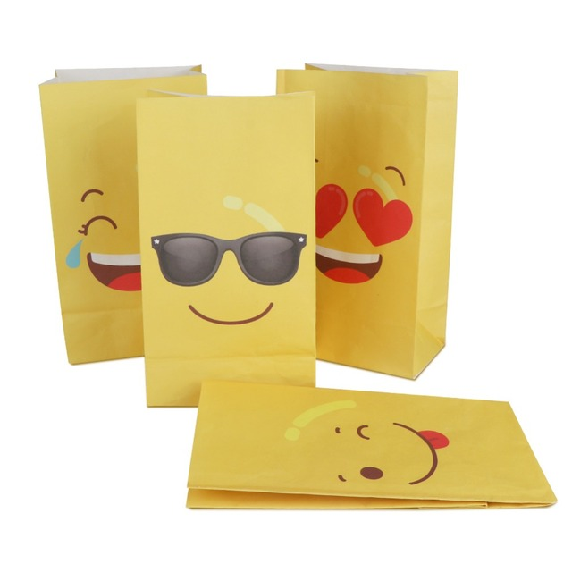 OurWarm 12pcs Emoji Paper Bags Birthday Party Favors DIY Decorations Yellow For Gifts Candy Bag 22128cm