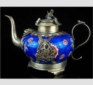 Ручной работы Религиозный Азии китайский редкие красивые Тибет фарфоровый чайник украшения сада 100% Настоящее Тибетский серебро латунь