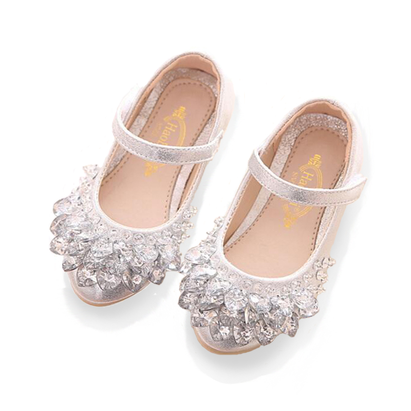 Bekamille Children Shoes 2019 New Fashion Girls Baby Leather Shoes Kids Girls Princess Rhinestone Shoes Dance Shoes Size 21-36