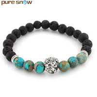 Fashion 8MM Natural Mixed Color Stone Lion Buddha Beads Bracelets Rope Charm Bracelets For Men Women Pure Snow Jewelry