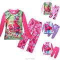 Para a Roupa Das Meninas Trolls Pijamas Crianças Conjuntos de Roupas Menina Trajes De Natal Das Crianças Terno Para O Ano Novo Sleepwear Adolescente
