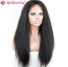 AliBlissWig Lace Front Human Hair Wigs For Black Women Brazilian Remy Hair 130% Natural Color Medium Cap