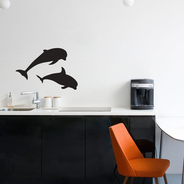 DCTOP Two Dolphins Silhouette Wall Stickers Sea Life Home Decor - How to make vinyl wall decals with silhouette