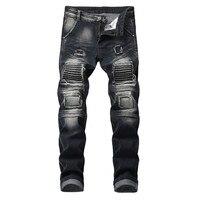 Plus Size Pant Men Street Jeans Holes Hip Hop Trousers Male Casual Elasticity Punk Rock Pants 2019 Party Mid Waist Cool Pant