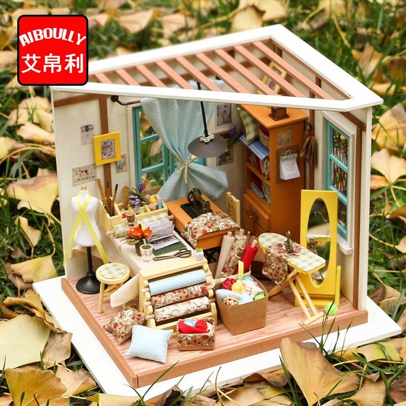 Miniatura maison de poupée en bois meubles maison de poupée Miniature tailleur boutique Puzzle jouet modèle Kits jouets-Lisa tailleur boutique