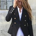 Double breasted white blazer Women  elegant slim suit jersey Black cool 2017 spring outwear OL short jacket
