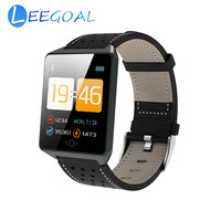 Smart Watch CK19 Heart Rate Blood Pressure Monitoring Fitness Tracker Genuine Leather Strap Magnetic Charging Sports Bracelet
