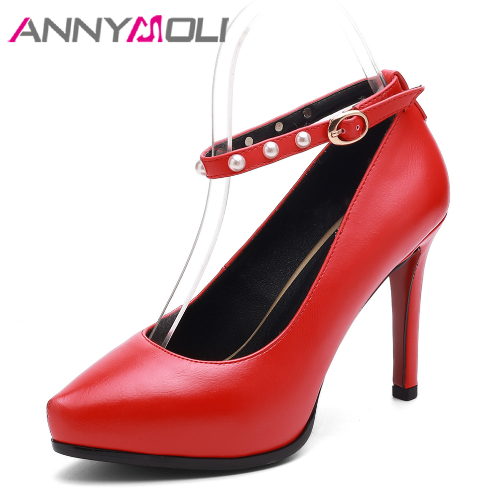 ANNYMOLI Pearl Women Pumps Platform High Heels Pointed Toe Ankle Strap Shoes Party Shoes Buckle Thin Heels Red Black Size 33-40 women luxury shoes platform pumps bridal wedding lolita shoes black red beige bottom peep toe high heels fetish shoes size 4 16