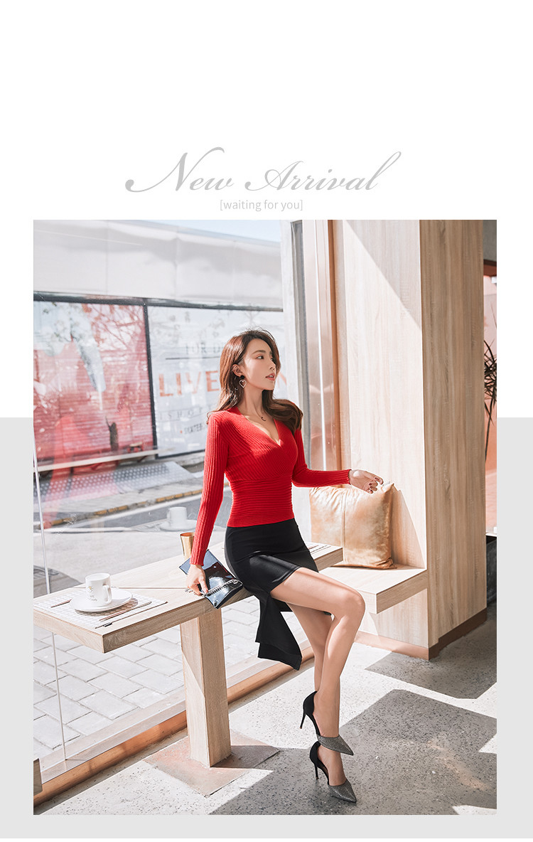 19 New Sexy Deep V Neck Sweater Women's Pullover Casual Slim Bottoming Sweaters Female Elastic Cotton Long Sleeve Tops Femme 5
