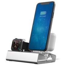 Алюминиевый 3 в 1 зарядная док-станция для iPhone X XR XS Max 8 7 Apple Watch зарядное устройство Держатель для iWatch крепление подставка Док-станция