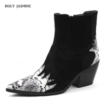 2019 Autumn New Brand Fashion Cowboy Boots for Women Ankle Square Heel High Heeled Short Western Snake Print