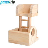 Hamster Rabbit Wooden Toy Funny Climbing Ladder Lookout Tower Rat Mouse Gerbil Exercise Toy