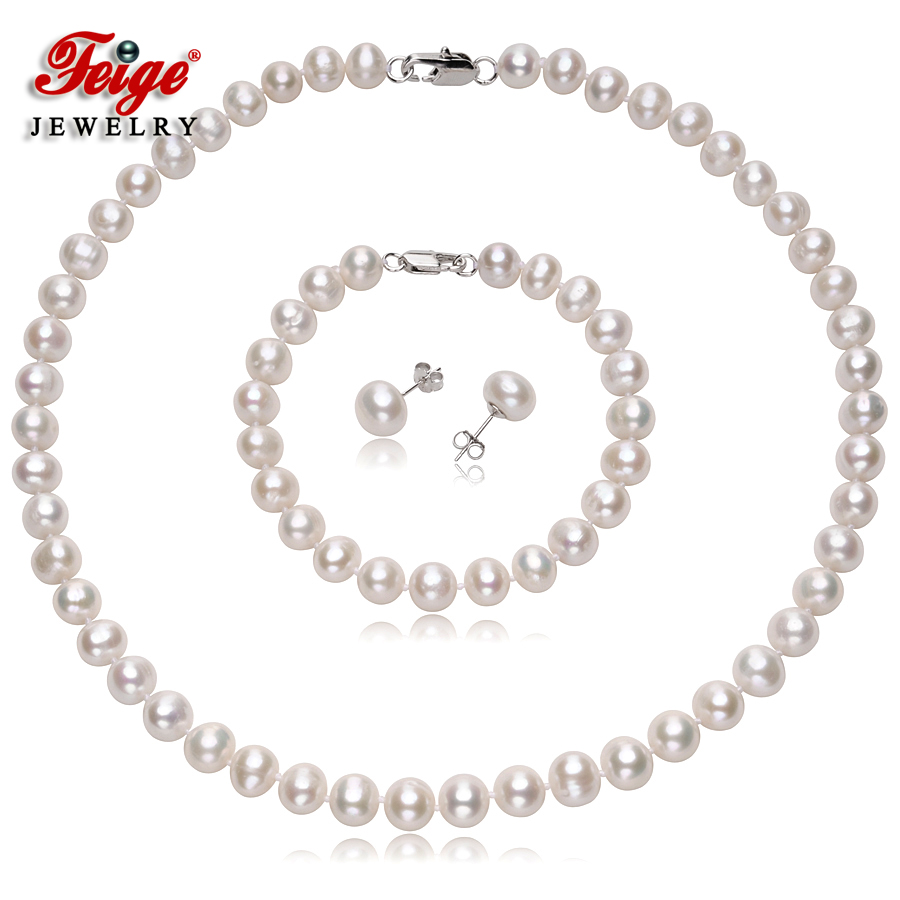 Natural Pearl Necklace Jewelry Sets for Women Anniversary Gift 8-9MM White Freshwater Pearl 925 Silver Earring Accessories FEIGE