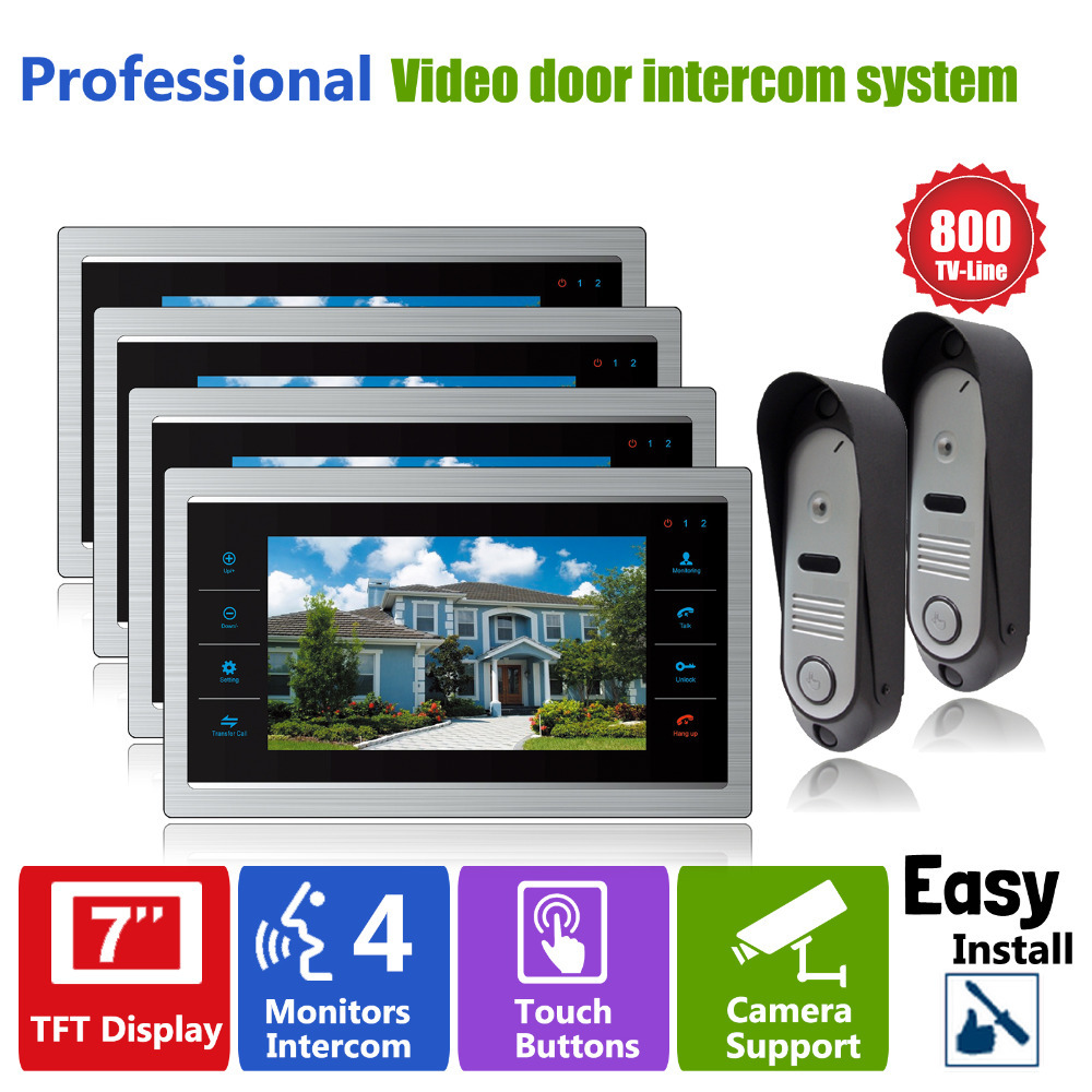 Homefong  Intercom Phone System with 2 Doorbell Camera and 4 Indoor LCD Screen Monitor 7 Inch Door Phone Doorbell Intercom Kit
