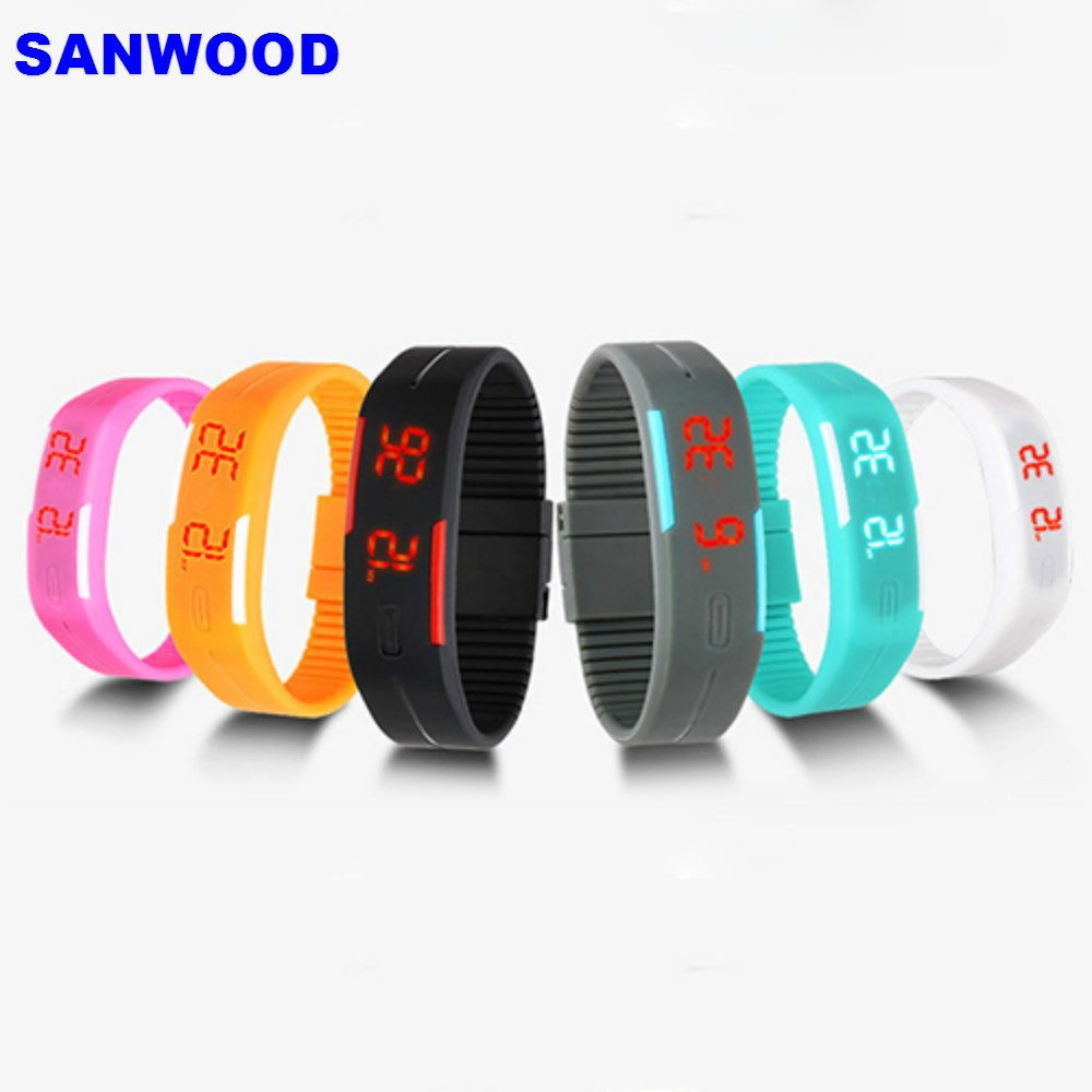 Charming Wristwatches Unisex Men's Women's Silicone Red LED Sports Bracelet Touch Digital Wrist Watch red led watch men silicone wrist watch