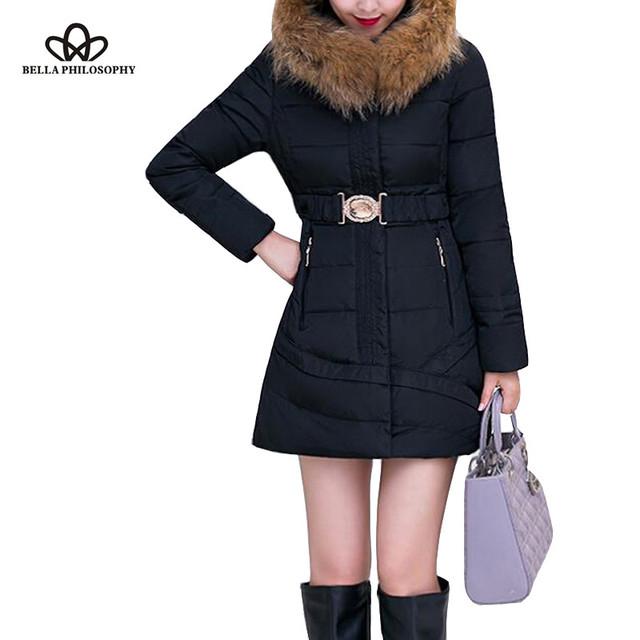 2015 nova fêmea inverno longo tamanho grande mulheres de Slim Down jaqueta de algodão acolchoado cintura ajustável com cinto de segurança falso gola de pele com capuz