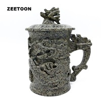 420cc Longevity Dragon Head Mug Natural Medical Stone Health Care Teacup Chinese Tea Set Office Coffee Mug Leading Master Cup
