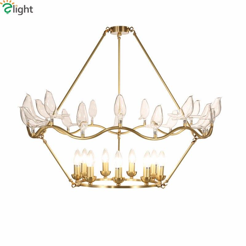Post Modern Foyer Luxury Led E14 Luminaire Chandelier 3D Clear Glass Bird Pendant Chandelier Copper Indoor Lighting Fixtures