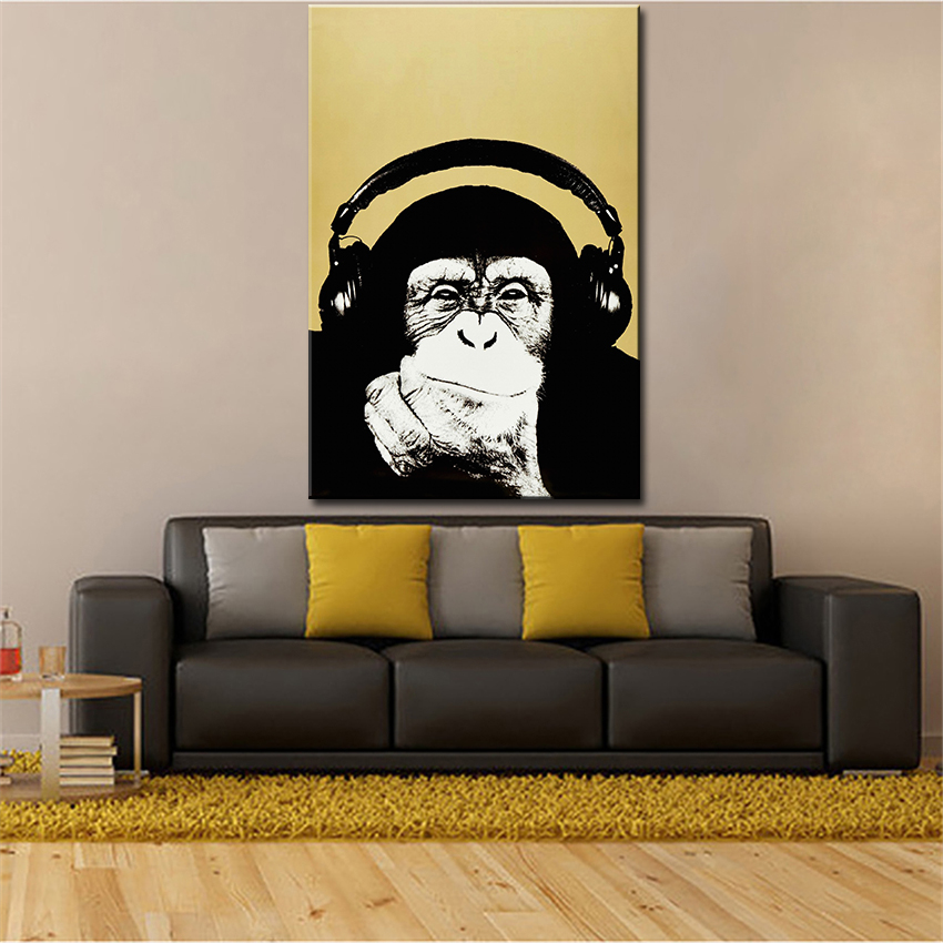Andy Warhol Music Monkey Wall Pictures Creative Oil Painting Print Canvas Top Idea Decor Art
