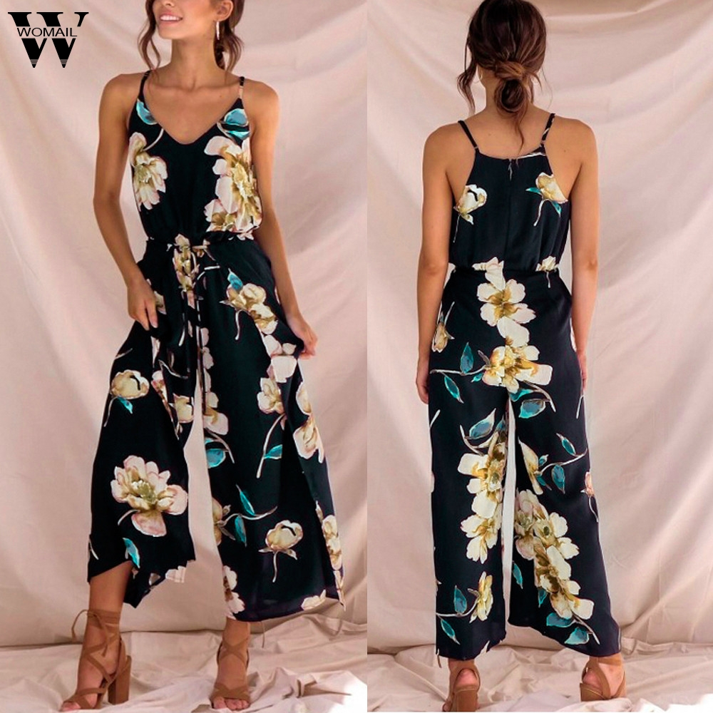 Womail bodysuit Women Summer Casual Strappy Floral Sling Long Trouser Playsuits Jumpsuit Rompers Holiday fashion 2020 M1