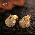 2016 Fashion Sunmmer  Cute Lovely Ladybird Stud Earrings with Crystal Cubic Zirconia Stone Supprice Gift  For Women/Girls