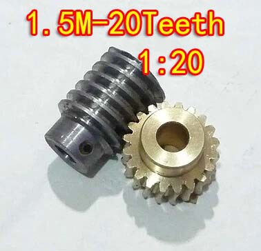 1.5M-20T reduction ratio:1:20 copper worm gear metal worm reducer transmission parts--gear hole:10mm rod hole:10mm цена