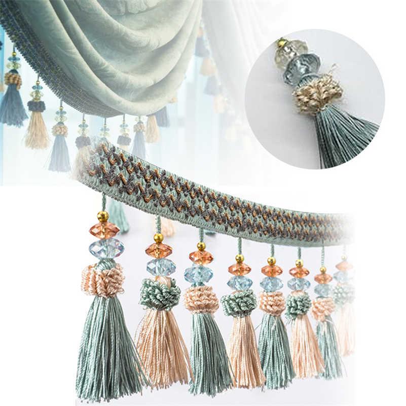1 M Crystal Bean Curtain Tassel Fringe Trim Diy Decorative Sewing Accessories