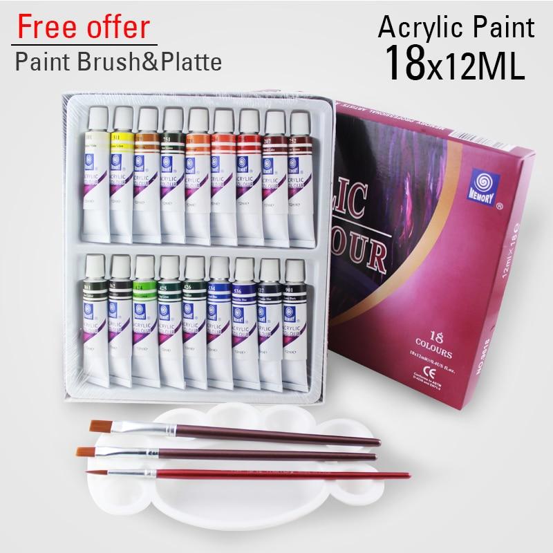 18 Colors 12ML Color Set Acrylic Paint Ceramics Paint Glass Paint Color Glass Drawing Hand Painted Pigments