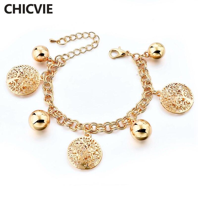 Купить шарм браслет chicvie с деревом жизни золотого и серебряного