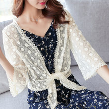 Women Plus Size XXXL Kimono Cardigan Lace Kimono Sunproof Blouse Mujer Thin Summer Crochet Kimono See Through Casual Shirt(China)