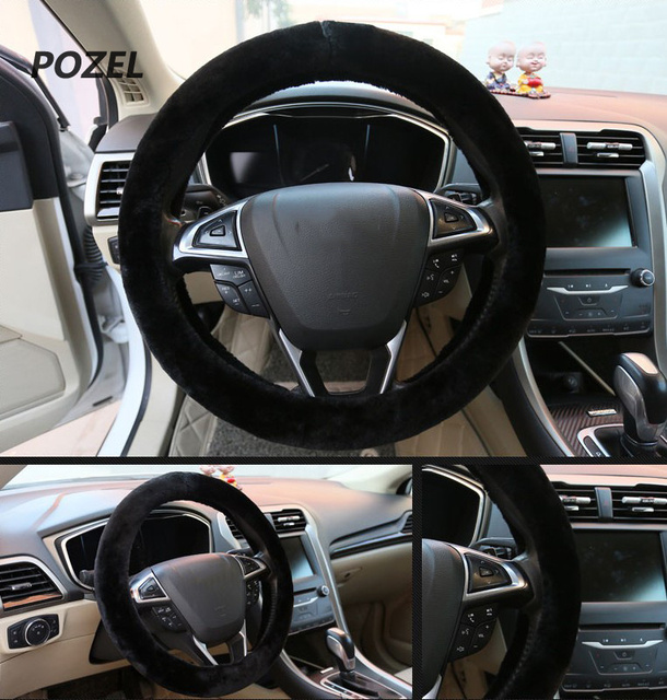 Car steering wheel cover warm plush universal interior for Interieur 407