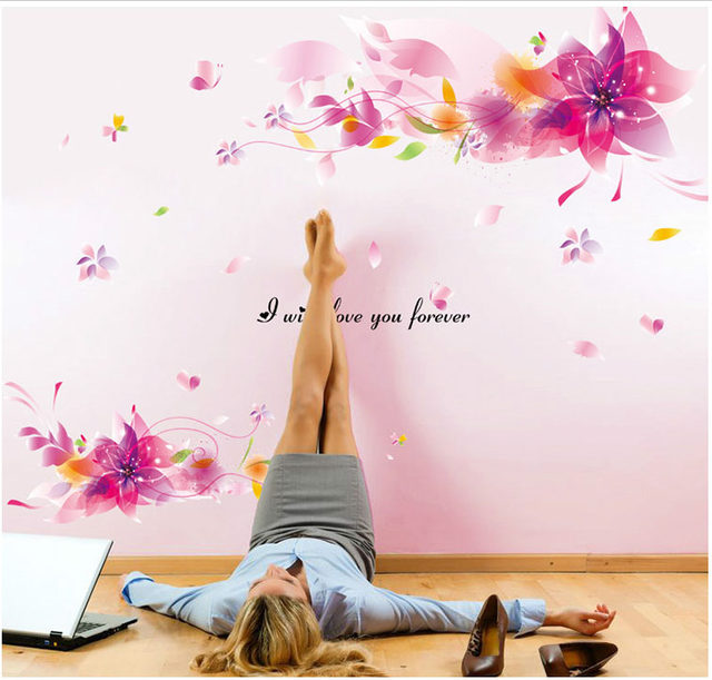 Online shop pink flowers romantic wedding room decor accessories pink flowers romantic wedding room decor accessories wall stickers artificial flowers wallpaper poster home decoration wall art junglespirit Image collections