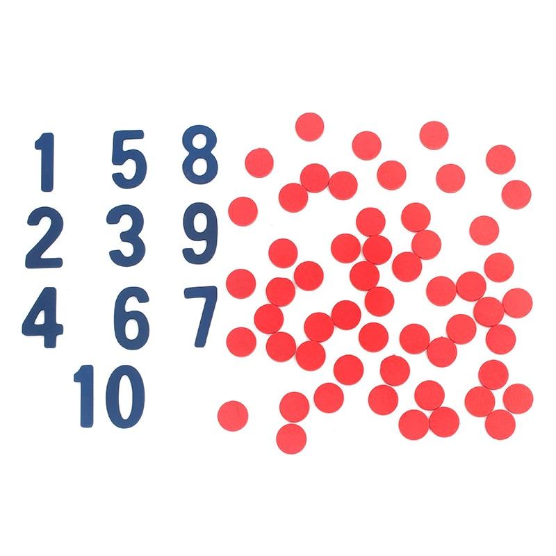 Bébé Jouets En Bois Montessori Matériel Mathématiques Cartes & Compteurs Comptage Nombre 1-10 Rouge Cercle Plaque Mathématiques Jouets Préscolaire cadeau