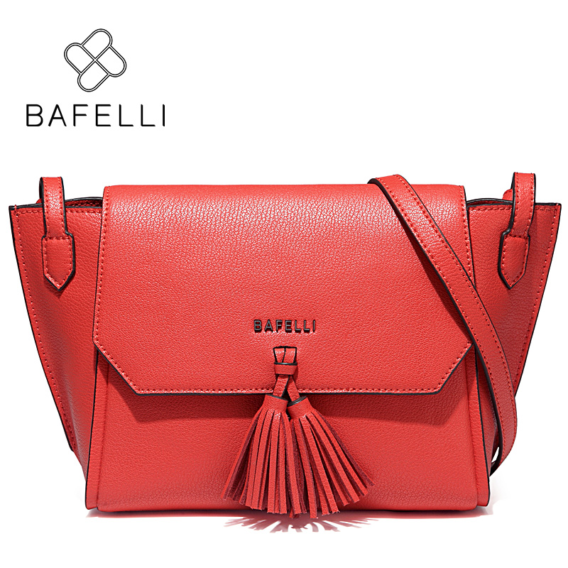 BAFELLI fashion tassel split leather women shoulder crossbody bag zipper & hasp trapeze bolsa feminina red women messenger bags 2017 fashion all match retro split leather women bag top grade small shoulder bags multilayer mini chain women messenger bags
