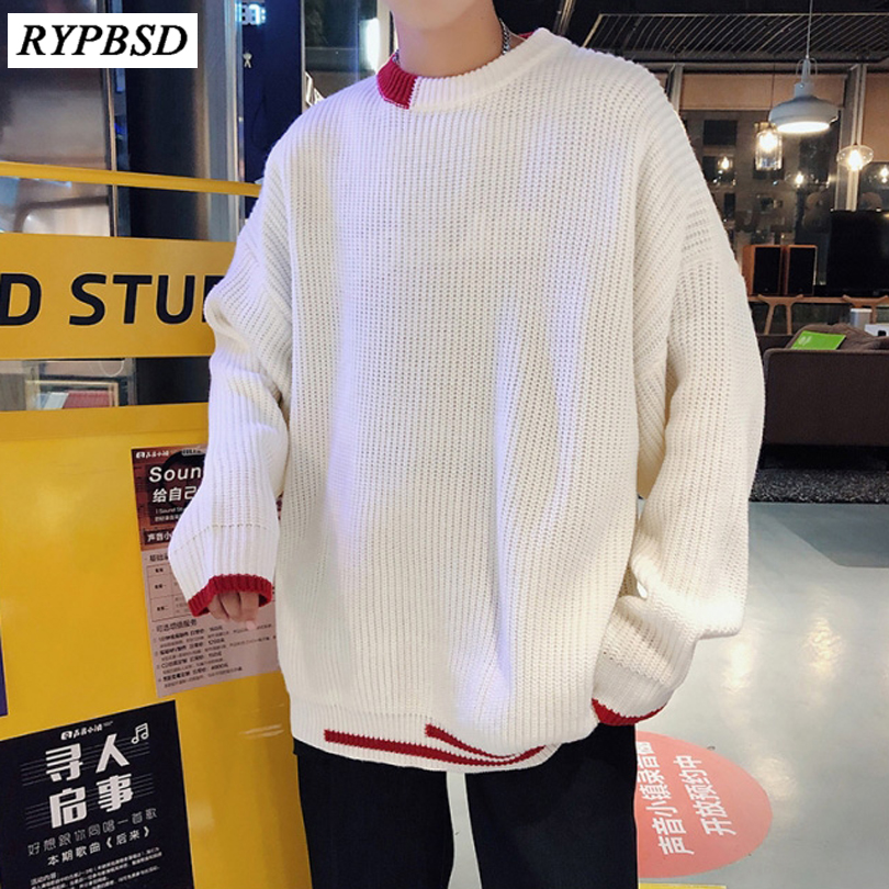 Autumn Winter 2019 New Solid Color Korean Fashion Casual Loose Men Sweater  Streetwear Round Neck Men Knitted Sweater e6c5cf931