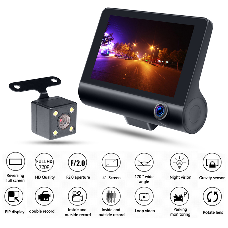 Auto Parts 4.0 Inch Dash Camera Car DVR 1080P HD 170 Degree Wide Angle Dual Lens Video Recorder Dash Cam with Rearview Camera
