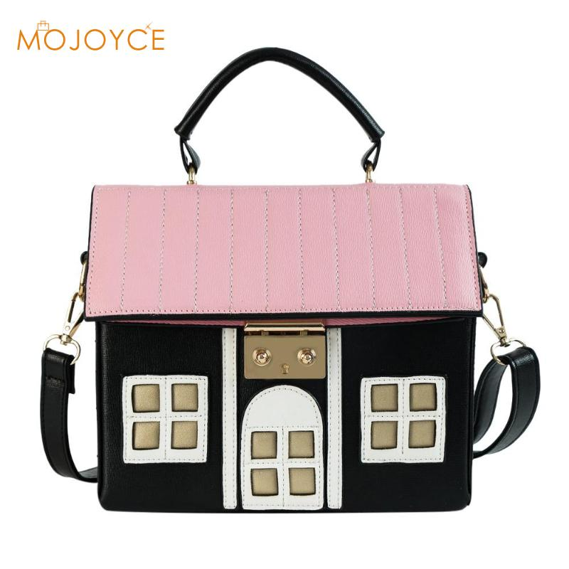 Personality House Shaped Messenger Bags PU Leather Crossbody Bag For Ladies Girl Casual Mini Messenger Bag Handbags 2018