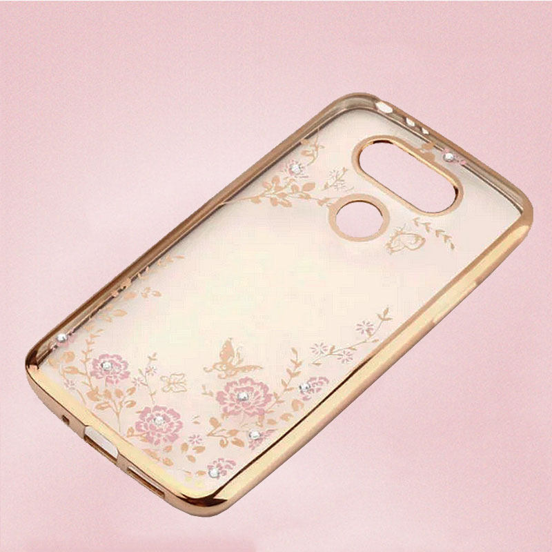 FLOWER CASE LG G5 SE Dual Casing Bunga Softcase Jelly Back Cover Diamond Electroplating Bumper Secret Garden