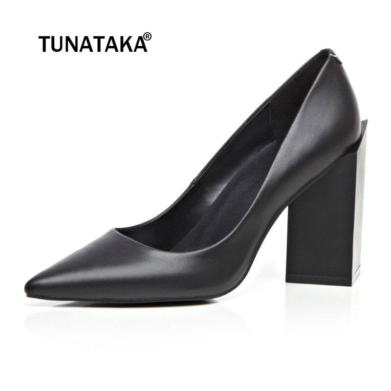 Women Genuine Leather High Heels Party Shoes Pointy Toe Fashion Special Chunky Heel Pumps рюкзак step by step junior dressy excavator blue yellow 129121