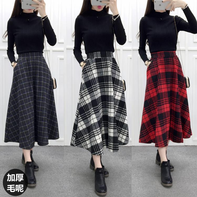 Popular Women Winter Long Skirt Plaid-Buy Cheap Women Winter Long ...