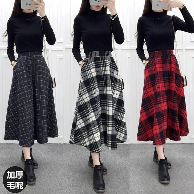 3ac992aa7b Winter Plaid Long Skirt Women High Waist Vintage Woolen A Line Skirt  Elegant Ladies Maxi Skirt
