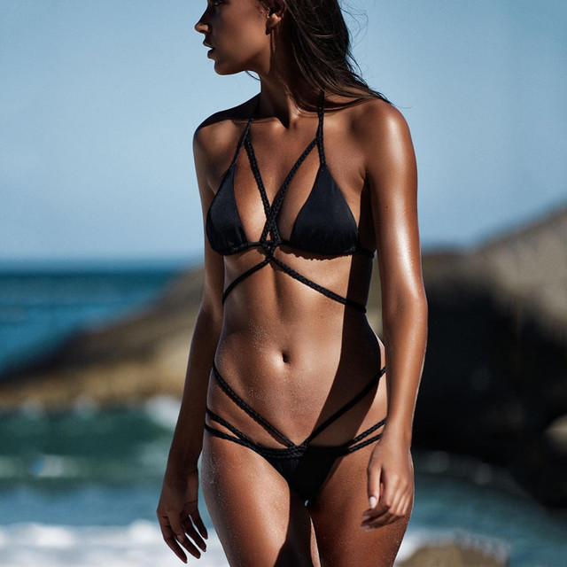 02203da3e7 2018 Push-Up Bikinis Sexy Black Bandage Design Halter Bikini Swimsuit Women  High Waist Women's Swimwear Swimming Trunks