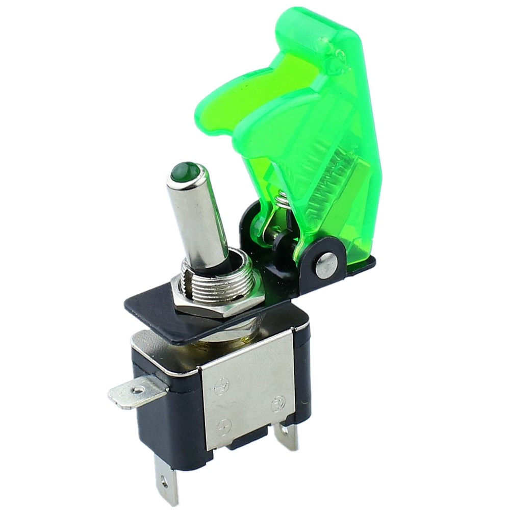 Green illuminated LED Toggle Switch With Missile Style Flick Cover Car Dash 12V