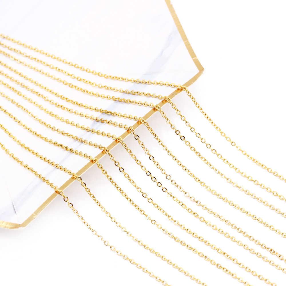 1mm i 2mm 10 sztuk dużo łańcuchy ze stali nierdzewnej srebrny i złoty i różowe złoto kolor 45-60CM naszyjniki kobiety/mężczyźni wisiorek sprzedaż hurtowa