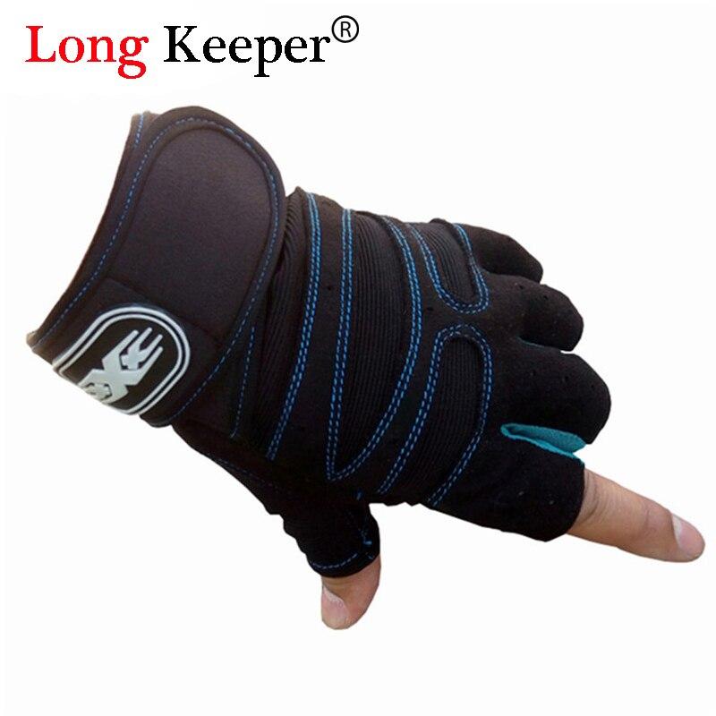 Professional Fingerless Gloves for Gym Work Out Fitness Palm Wrist Protection Gloves for Men Women Black Sport Luvas M132